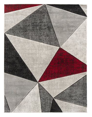 Red Silver Grey Geometric Triangles Hand-Carved Soft Living Room Area Rug
