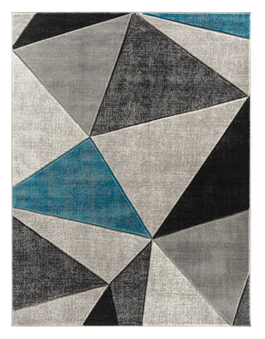 Turquoise Silver Geometric Triangles Hand-Carved Soft Living Room Area Rug