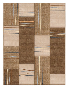 Beige Geometric Rectangles Hand-Carved Soft Living Room Area Rug