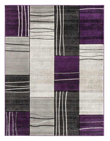 Purple Grey Geometric Rectangles Hand-Carved Soft Living Room Area Rug