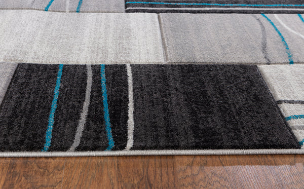 Silver Grey Turquoise Geometric Rectangles Hand-Carved Soft Living Room Area Rug
