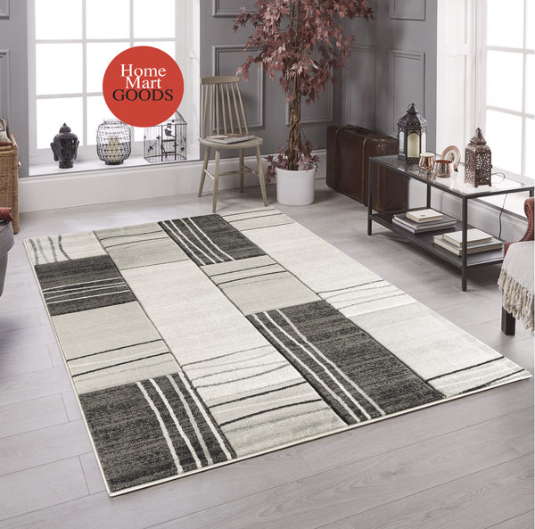 Silver Grey Geometric Rectangles Hand-Carved Soft Living Room Area Rug