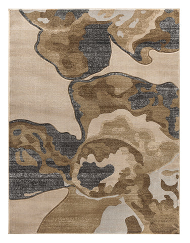 Beige Abstract Hand-Carved Soft Living Room Area Rug