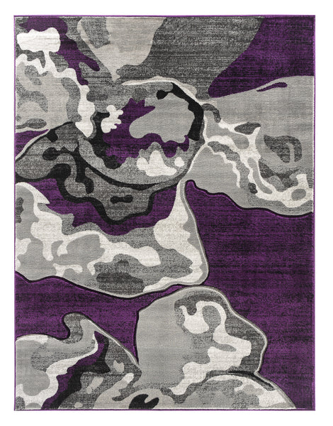 Purple Abstract Hand-Carved Soft Living Room Area Rug
