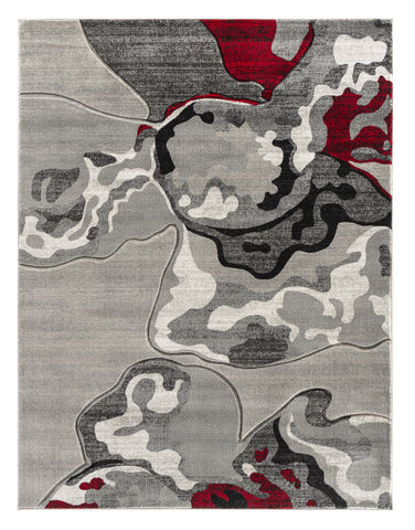 Red Silver Abstract Hand-Carved Soft Living Room Area Rug
