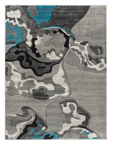 Turquoise Silver Abstract Hand-Carved Soft Living Room Area Rug