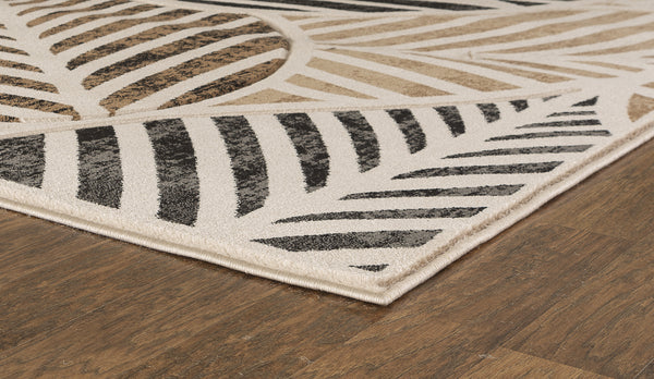 Beige Leaf Hand-Carved Soft Living Room Area Rug