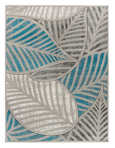 Turquoise Silver Grey Leaf Hand-Carved Soft Living Room Area Rug