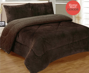 Brown Warm Super Thick Soft Borrego Sherpa Quilted Blanket 3 Piece Set