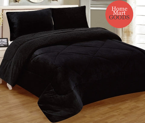 Black Warm Super Thick Soft Borrego Sherpa Quilted Blanket 3 Piece Set
