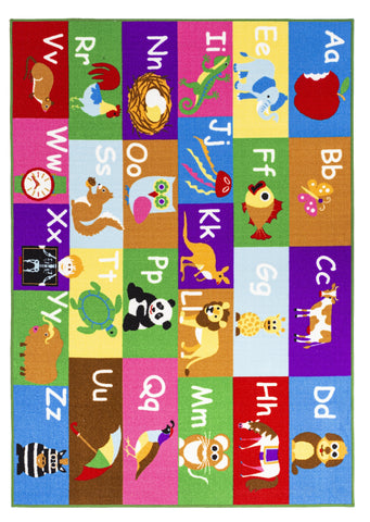 Multi Color Alphabet Educational / Road Map Reversible Fun Kids Area Rug