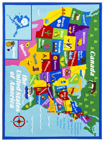 Educational USA States Map / Princess World Reversible Fun Kids Area Rug