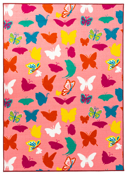 Multi Color ABCs Educational / Pink Butterflies Reversible Fun Kids Area Rug