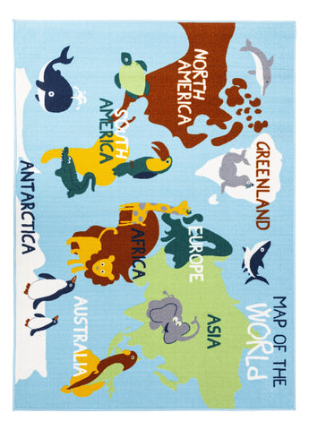 Educational World Map Animals / City Roads Reversible Fun Kids Area Rug