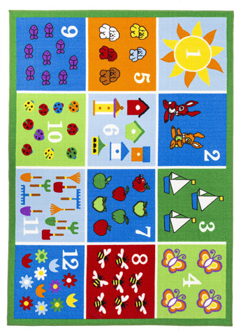 Multi Color Educational Numbers / Farmer Roads Reversible Fun Kids Area Rug
