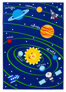 Soft Educational Solar System Planets / Numbers Reversible Fun Kids Area Rug