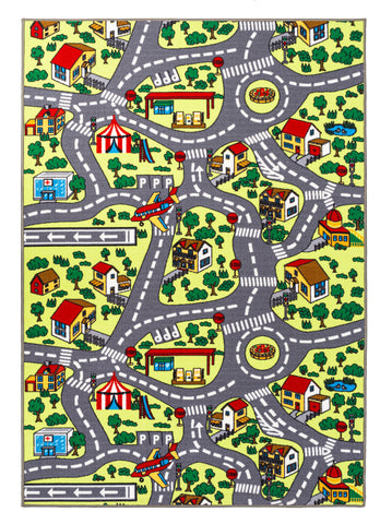 City Roads / Educational Traffic Blue Cars Reversible Fun Kids Area Rug