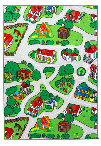Soft City Roads / Camping Site Animals Reversible Fun Kids Area Rug