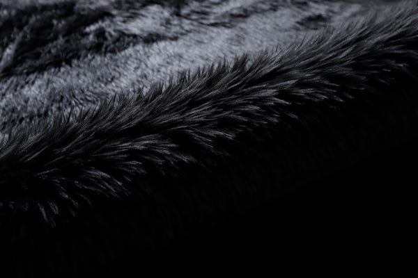Black Faux Fur Sheepskin Area Rug