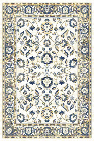 Ivory Blue Floral Traditional Oriental Area Rug