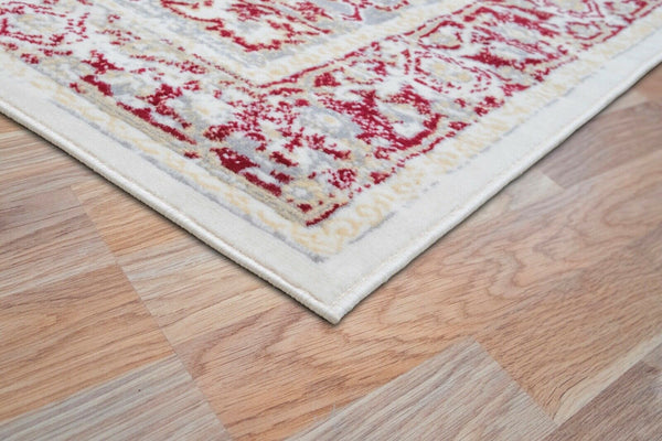 Ivory Red Medallion Traditional Oriental Area Rug