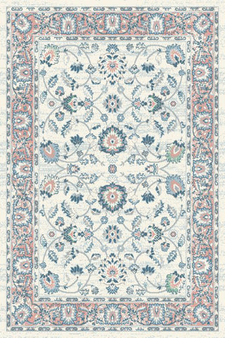 Ivory Blue Pink Floral Traditional Oriental Area Rug