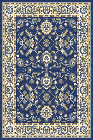 Navy Blue Floral Traditional Oriental Area Rug