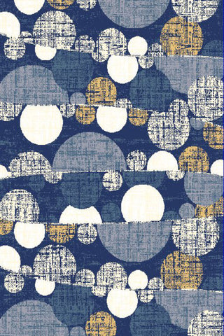 Navy Blue Polka Dots Circles Area Rug
