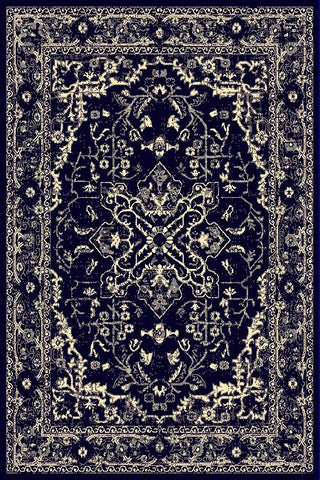 Black Beige Medallion Traditional Oriental Area Rug