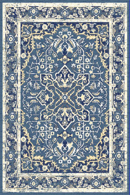 Blue Ivory Medallion Traditional Oriental Area Rug