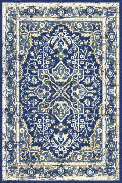Navy Blue Ivory Medallion Traditional Oriental Area Rug
