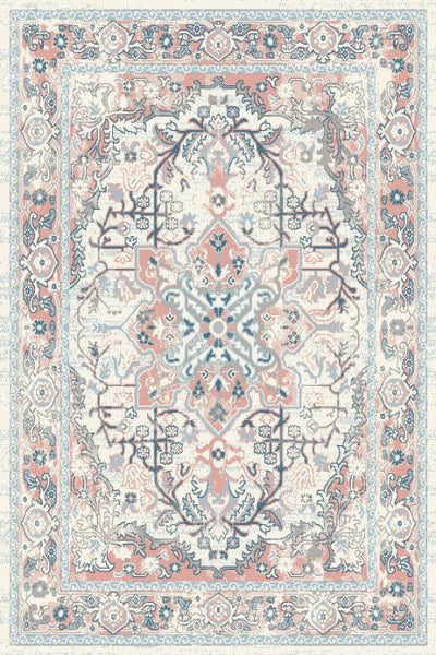 Ivory Pink Medallion Traditional Oriental Area Rug