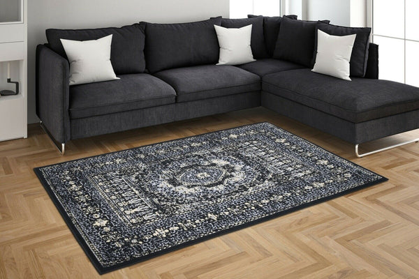 Black Ivory Medallion Traditional Oriental Area Rug