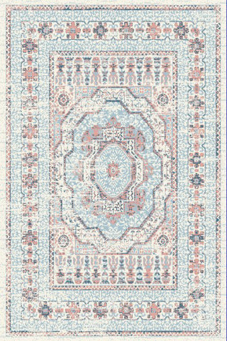 Blue Pink Medallion Traditional Oriental Area Rug