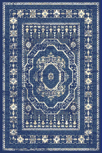 Navy Blue Medallion Traditional Oriental Area Rug