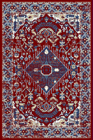 Burgundy Blue Medallion Traditional Oriental Area Rug