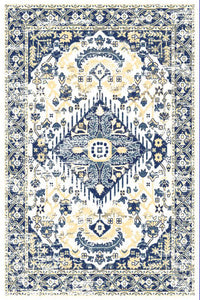 Ivory Blue Medallion Traditional Oriental Area Rug