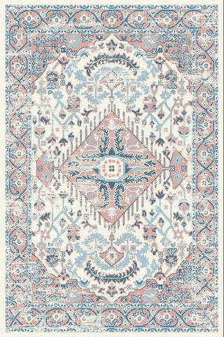 Ivory Pink Blue Medallion Traditional Oriental Area Rug