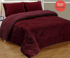 Burgundy Warm Super Thick Soft Borrego Sherpa Quilted Blanket 3 Piece Set