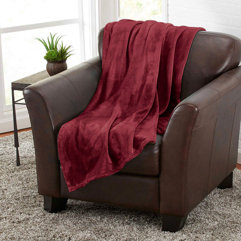 Burgundy 100% Polyester Solid Color Flannel Luxury Soft Micro-Fleece Ultra Plush Solid Throw Blanket Bedding