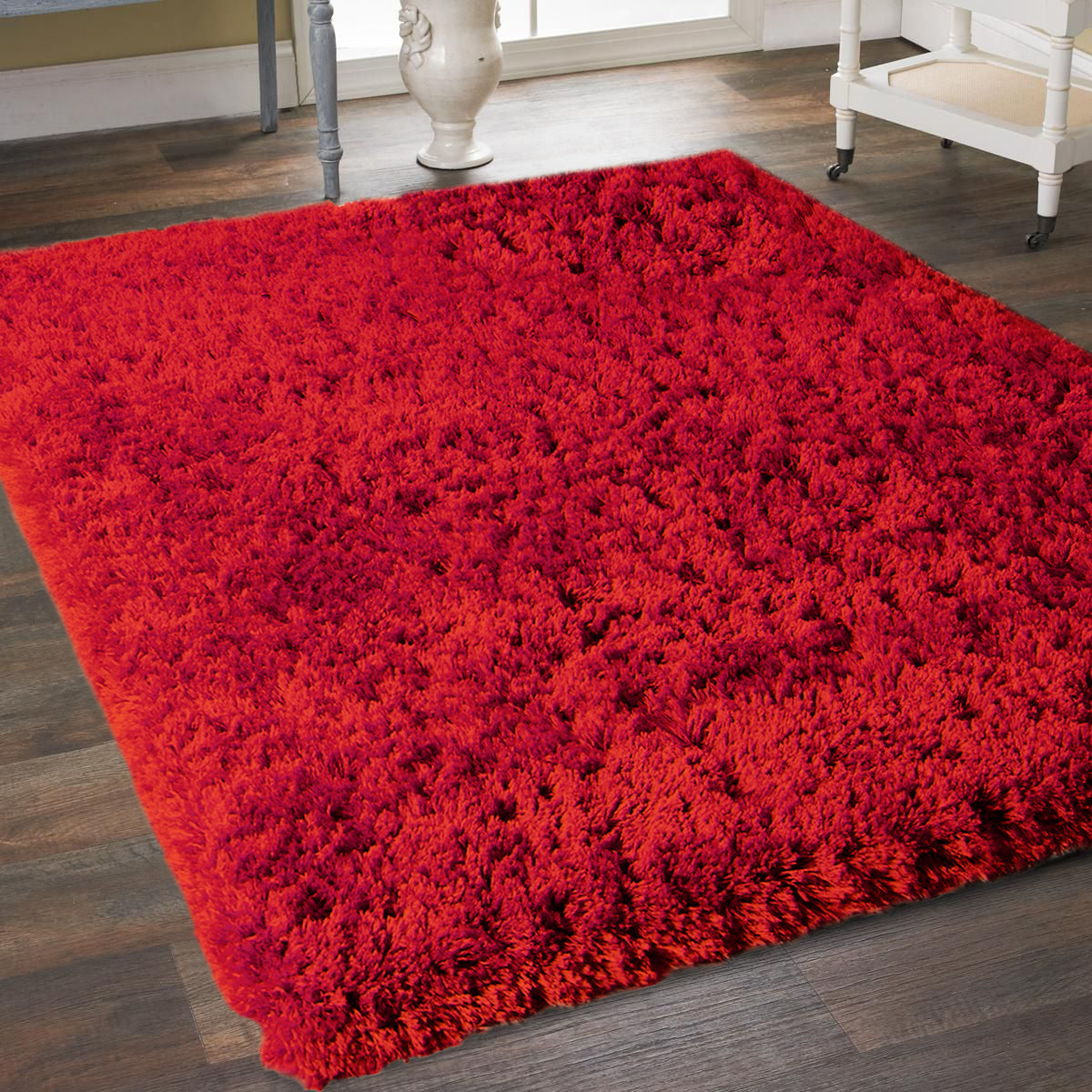 8' x 10' Red Super Soft Thick Plush Pile Cozy Modern Shaggy Shag Microfiber Area Rug