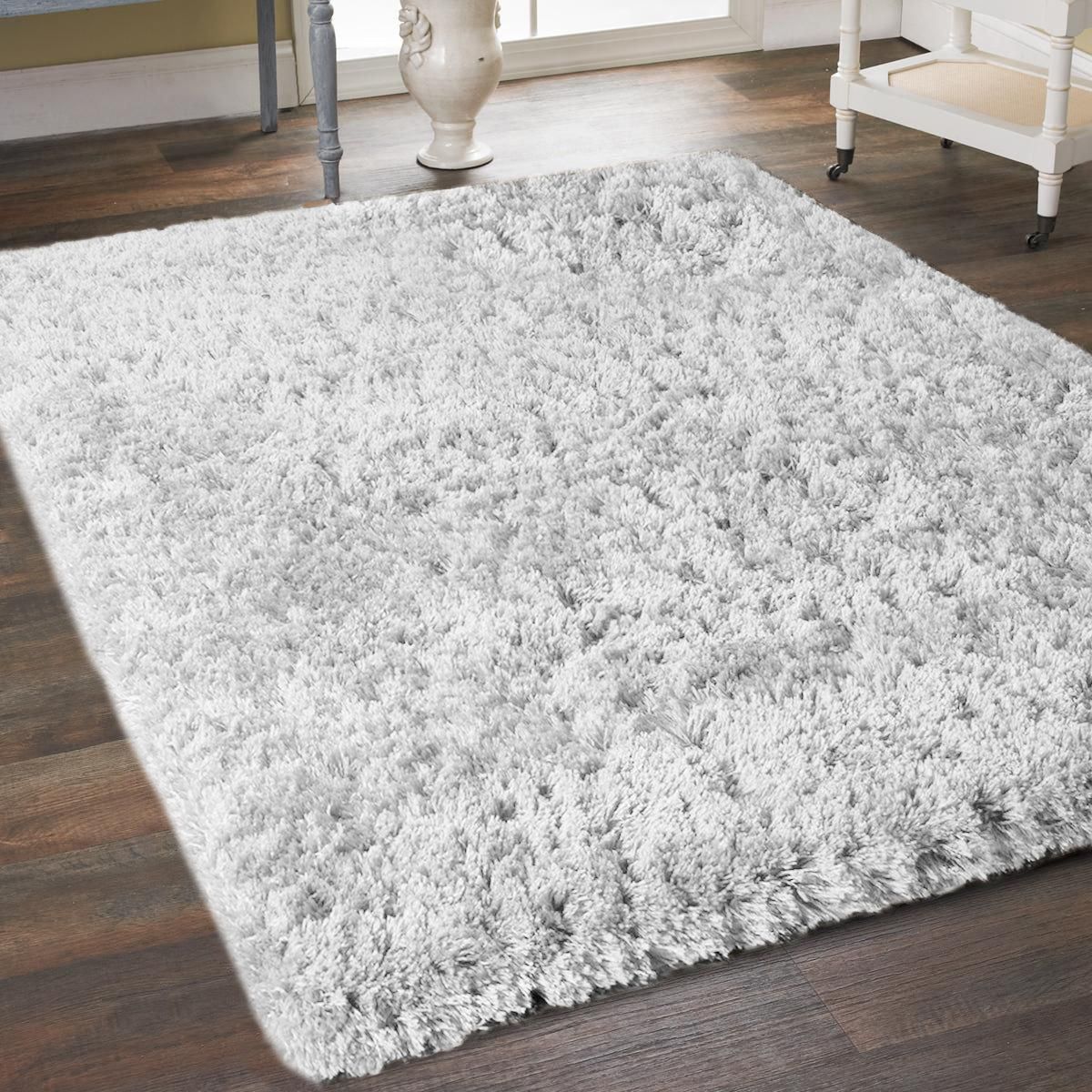 5' x 7' White Super Soft Thick Plush Pile Cozy Modern Shaggy Shag Microfiber Area Rug