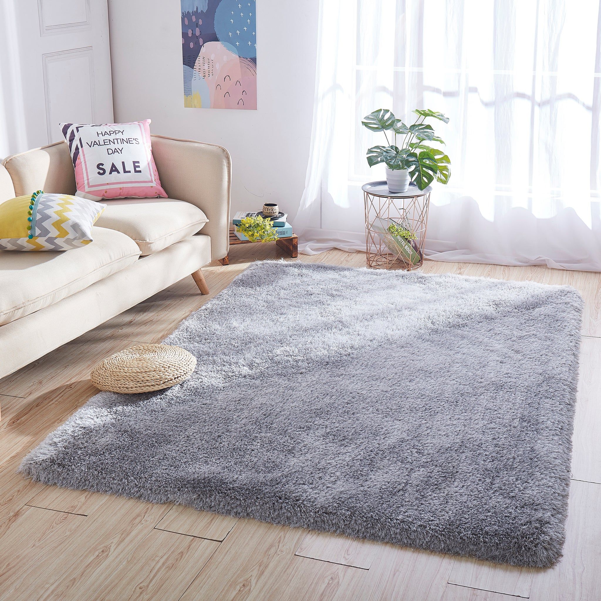 8' x 10' Silver Thick Dense Pile Super Soft Living Room Bedroom Shaggy Shag Area Rug