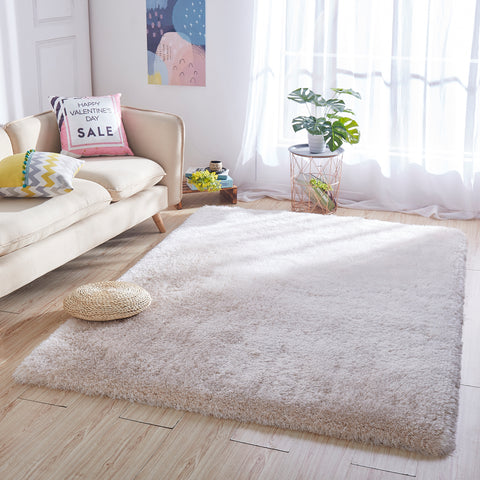 8' x 10' Beige Thick Dense Pile Super Soft Living Room Bedroom Shaggy Shag Area Rug