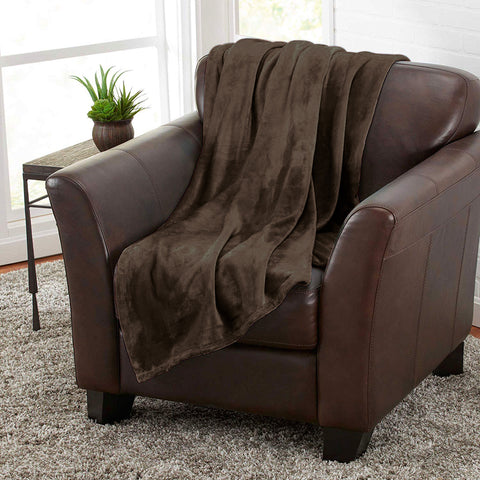 Brown 100% Polyester Solid Color Flannel Luxury Soft Micro-Fleece Ultra Plush Solid Throw Blanket Bedding