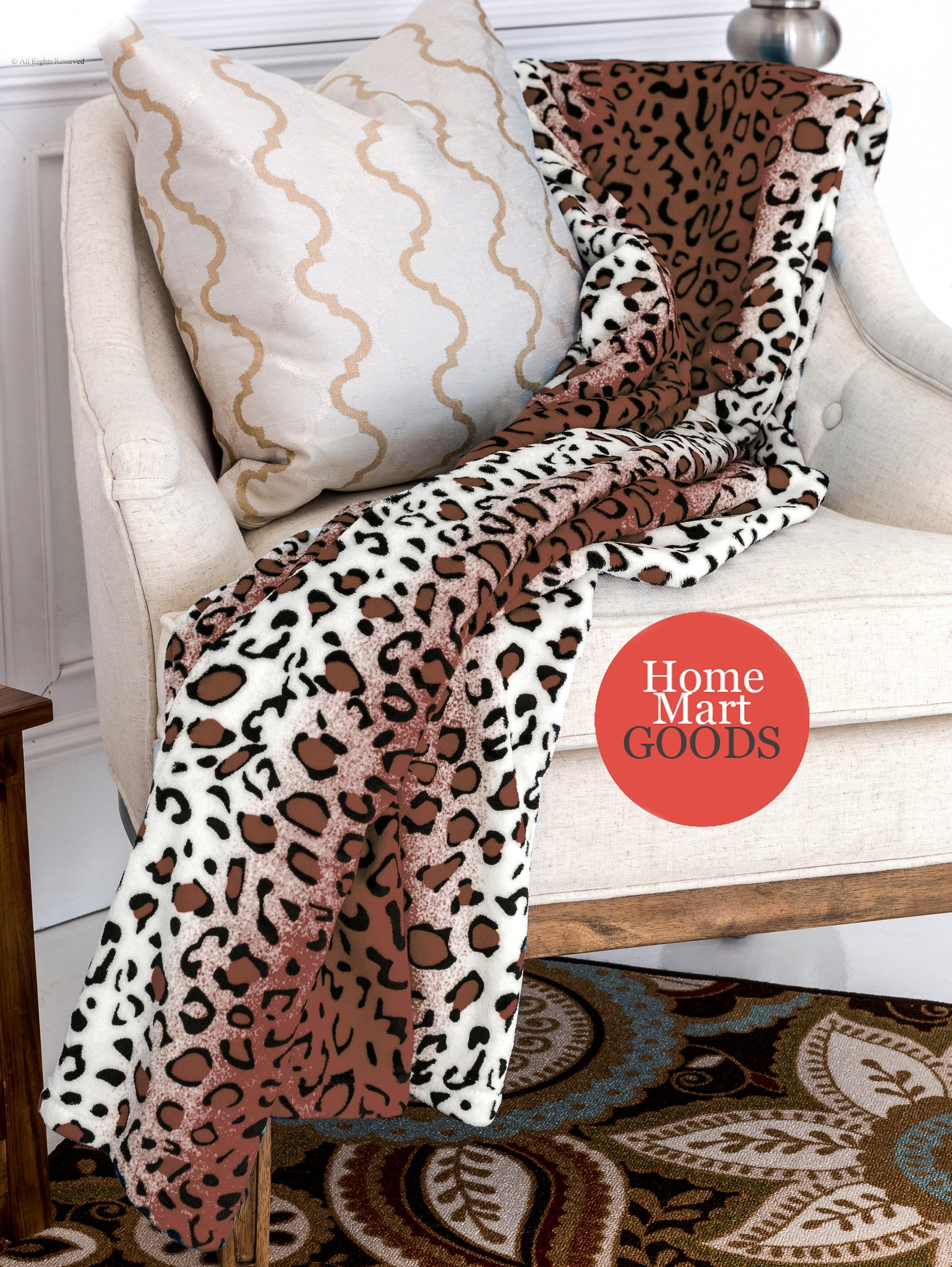 Leopard Brown and White Animal Print Coral Fleece Mega Throw Soft Blanket