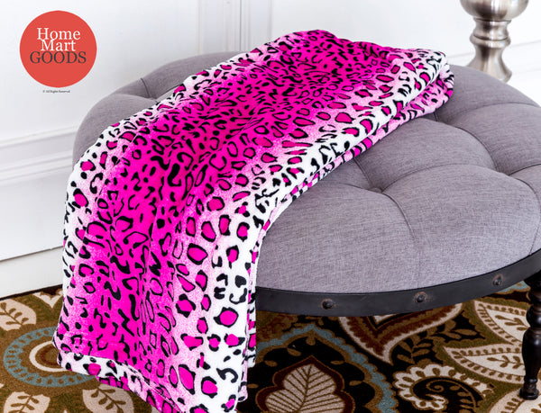 Leopard Pink and White Animal Print Coral Fleece Mega Throw Soft Blanket
