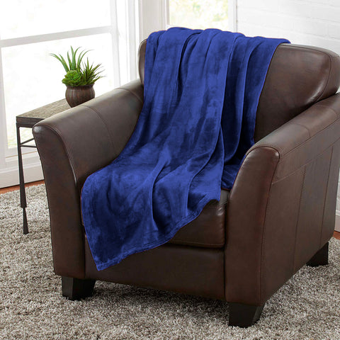 Navy Blue 100% Polyester Solid Color Flannel Luxury Soft Micro-Fleece Ultra Plush Solid Throw Blanket Bedding
