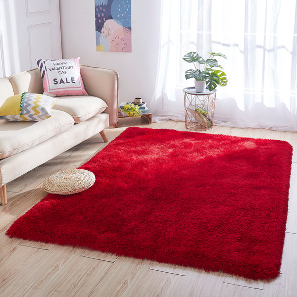 8' x 10' Red Thick Dense Pile Super Soft Living Room Bedroom Shaggy Shag Area Rug
