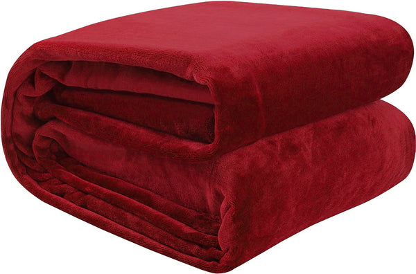 Red 100% Polyester Solid Color Flannel Luxury Soft Micro-Fleece Ultra Plush Solid Throw Blanket Bedding